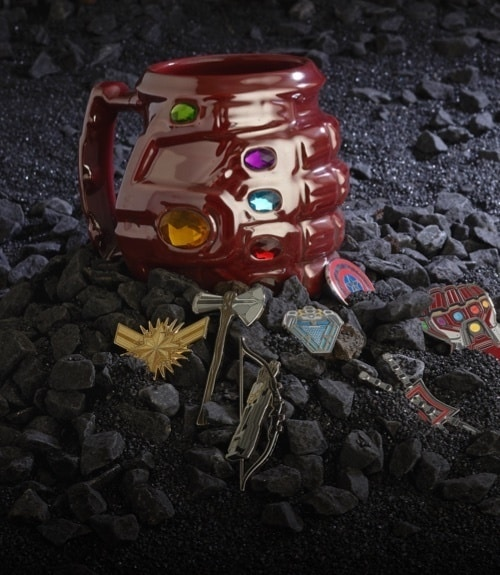 Thanos' gauntlet and Avengers pin set