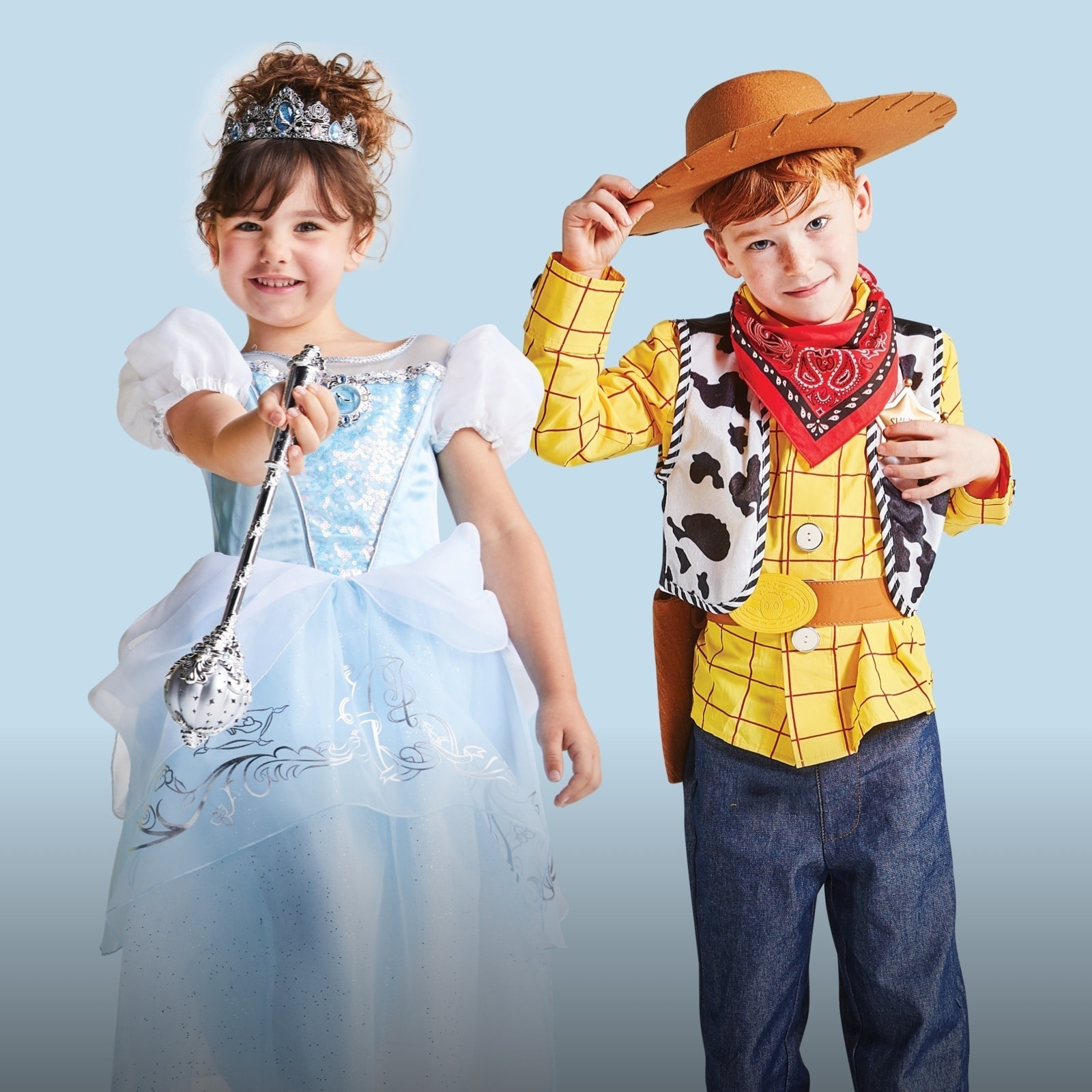 Fancy dress outfits inspired by Cinderella and Woody