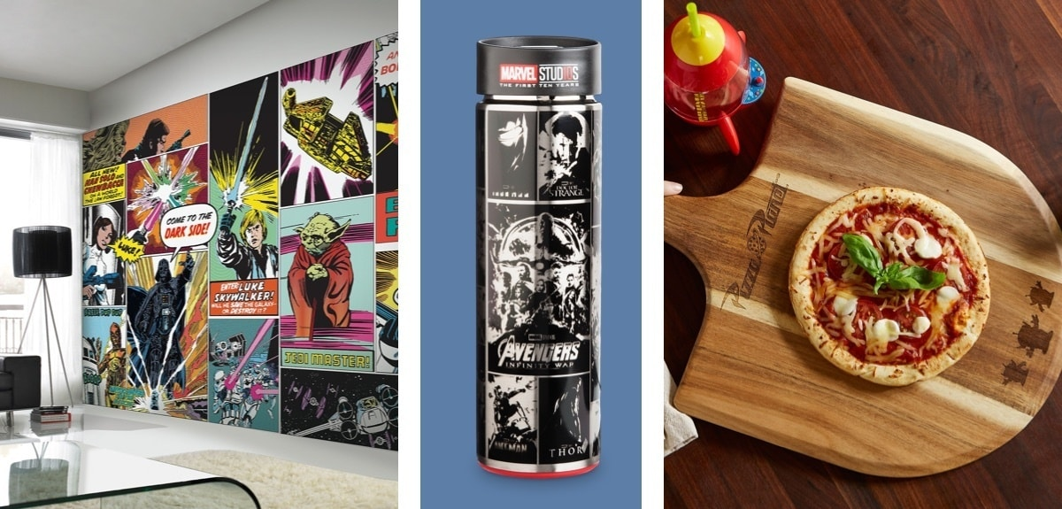 A selection of Marvel and Disney inspired homeware.