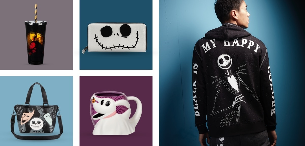 Nightmare Before Christmas themed tumbler, handbag, mug, wallet and hoodie