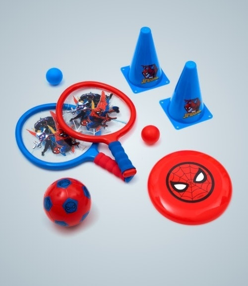 Spiderman inspired bat and ball set, spiderman inspired frisbee, spiderman inspired football and spiderman inspired cones