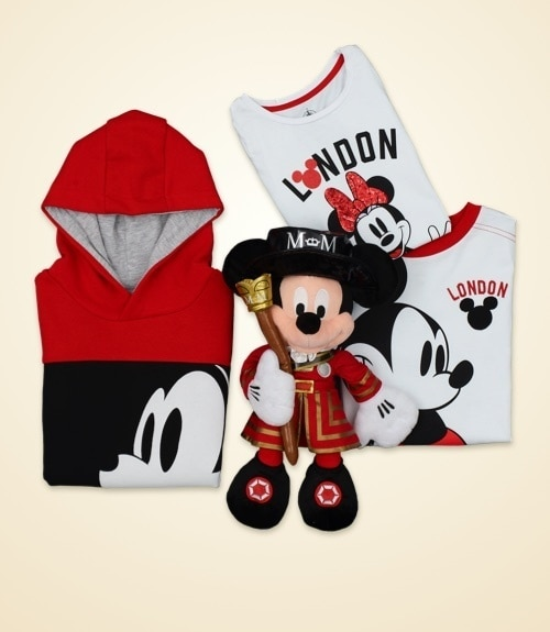 London inspired clothing and a London Beefeater inspired Mickey Mouse soft toy.