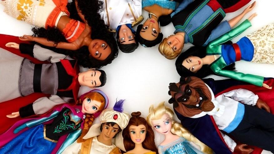 Una selección de muñecas clásicas inspiradas en los personajes de Disney.