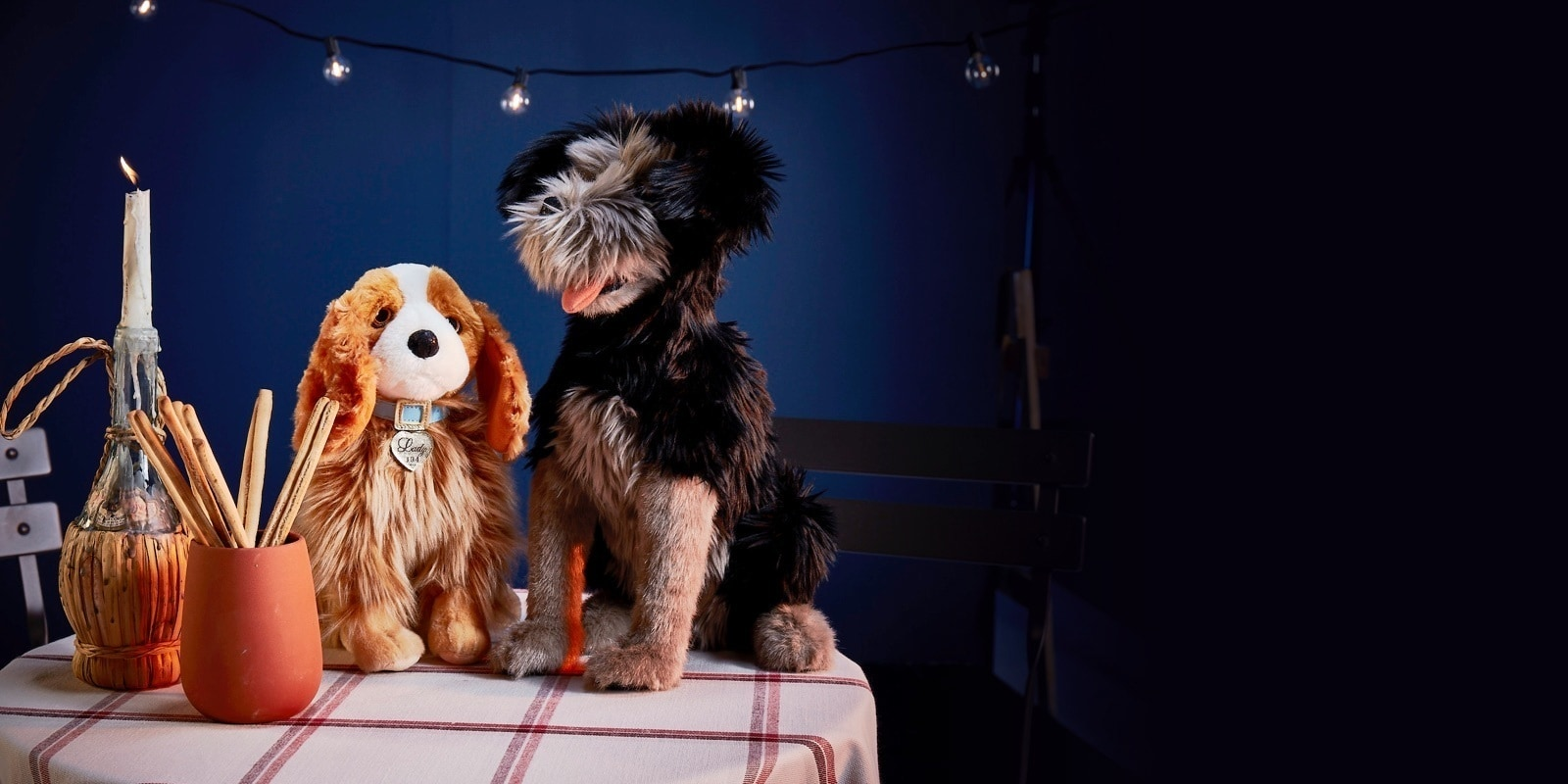 Soft toys inspired by live action lady and the Tramp