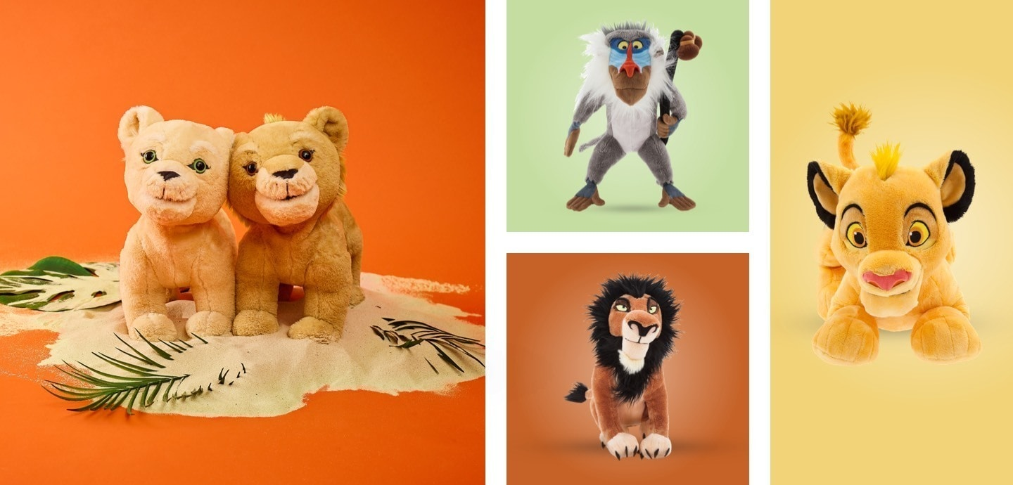 A selection of The Lion King soft toys.