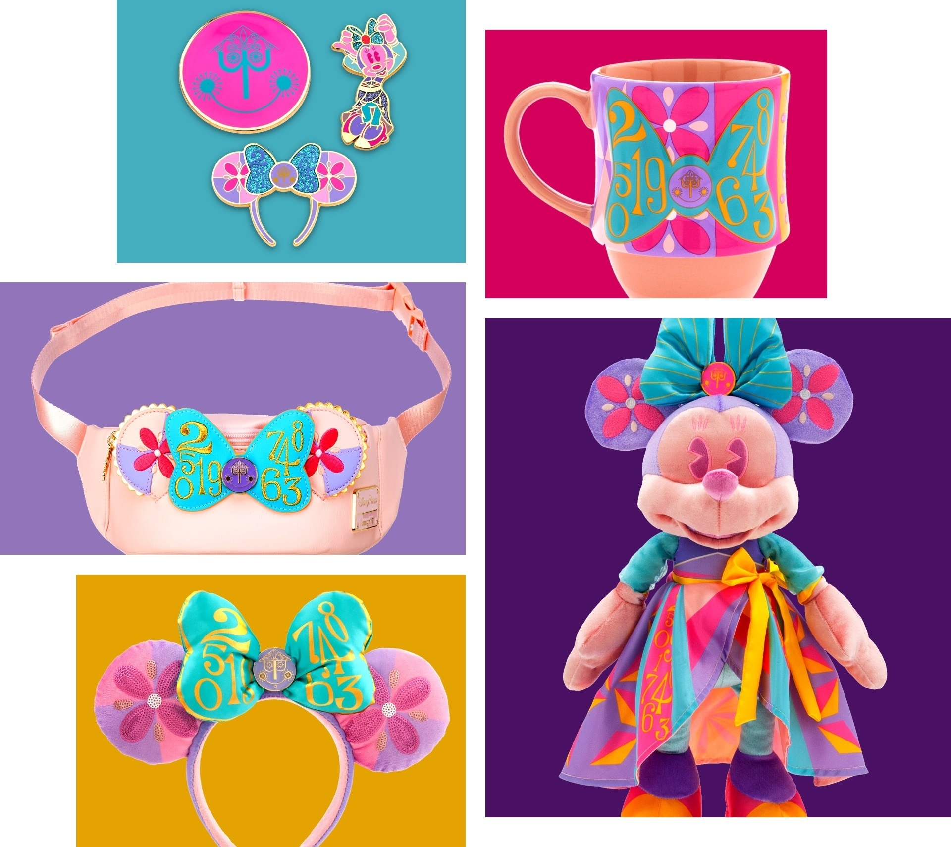 The April collection from the Minnie Main Attraction collection featuring colours and designs inspired by It's a Small World.