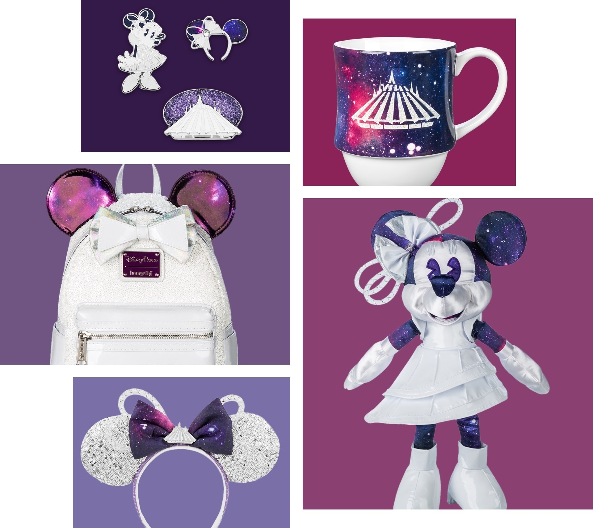 The Minnie Mouse Main Attraction January collection including a Minnie plush, rucksack, mug and pinset, all styled around the Space Mountain attraction at Disney Parks.