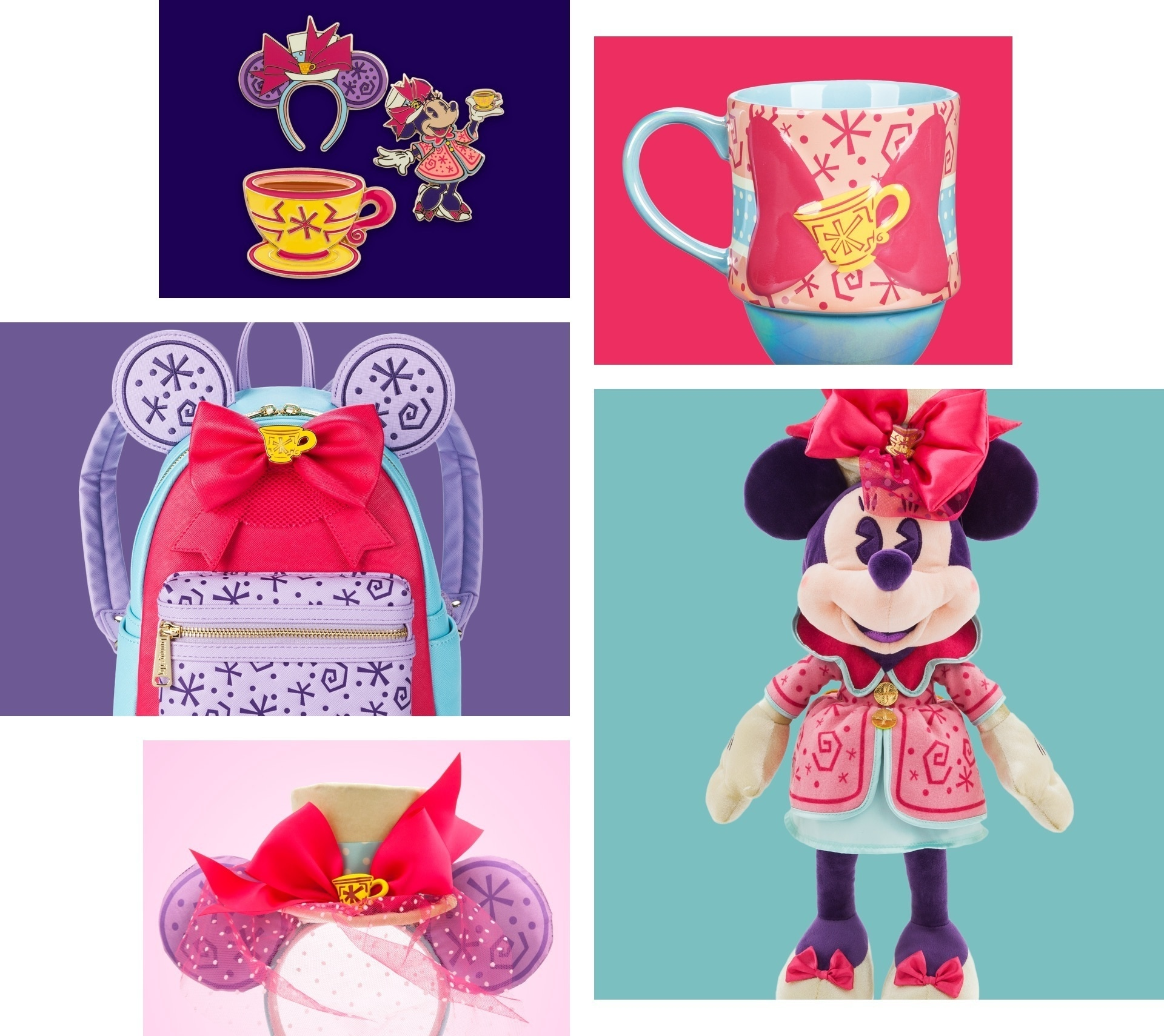 The Minnie Mouse Main Attraction March collection including a Minnie plush, rucksack, mug and pinset, all styled around the Space Mountain attraction at Disney Parks.