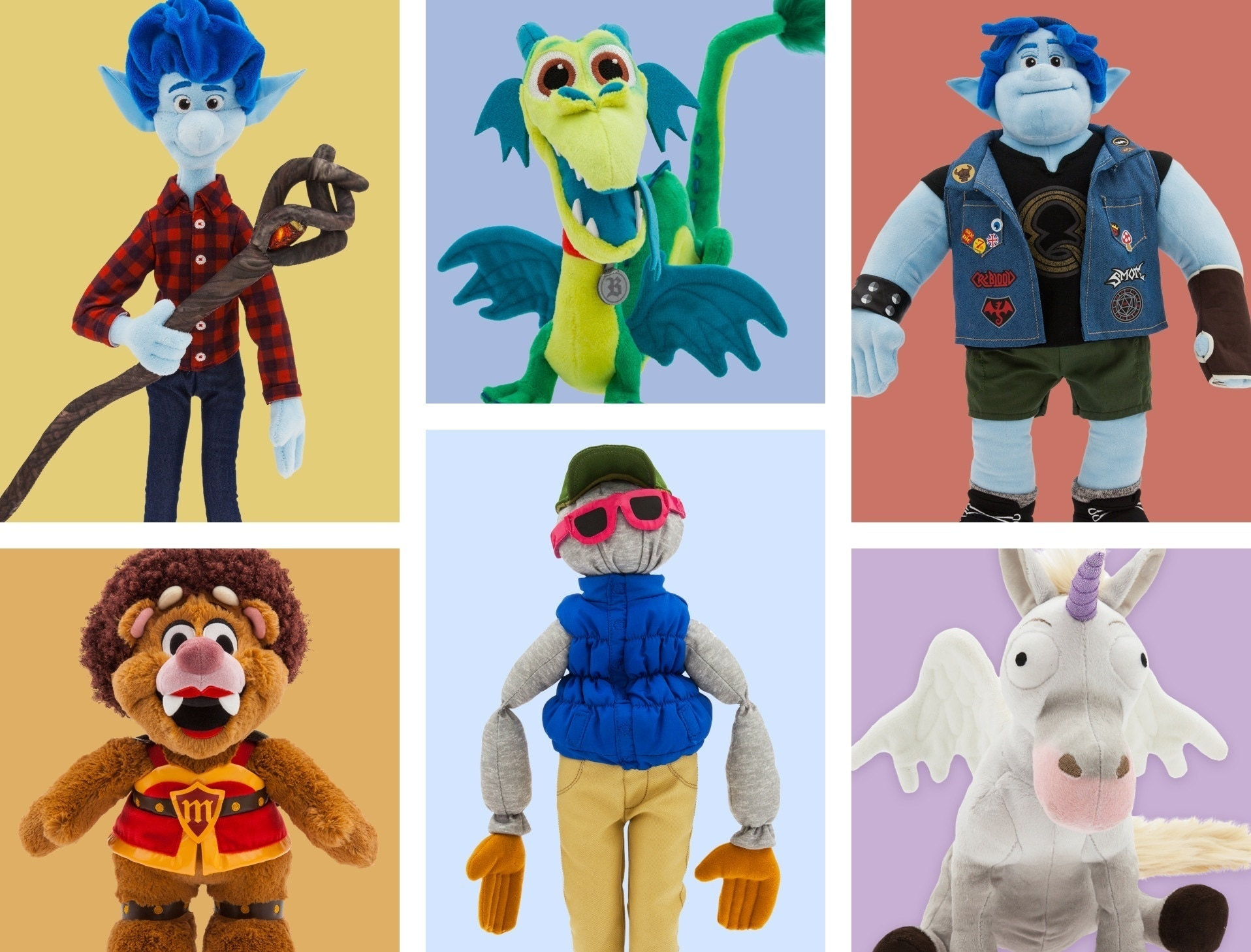 A selection of soft toys inspired by characters from Onward
