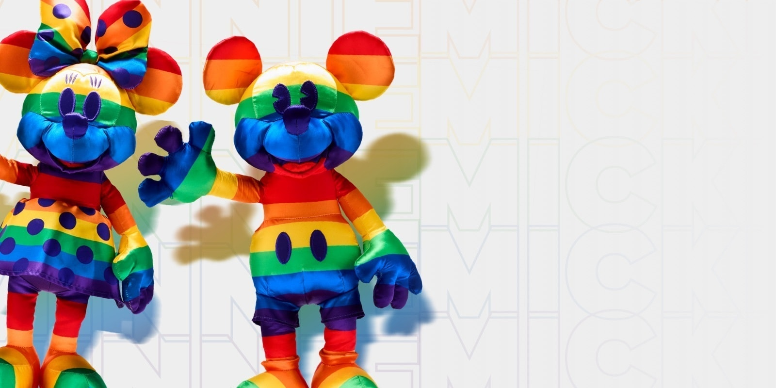 Rainbow Mickey and Minnie soft toys