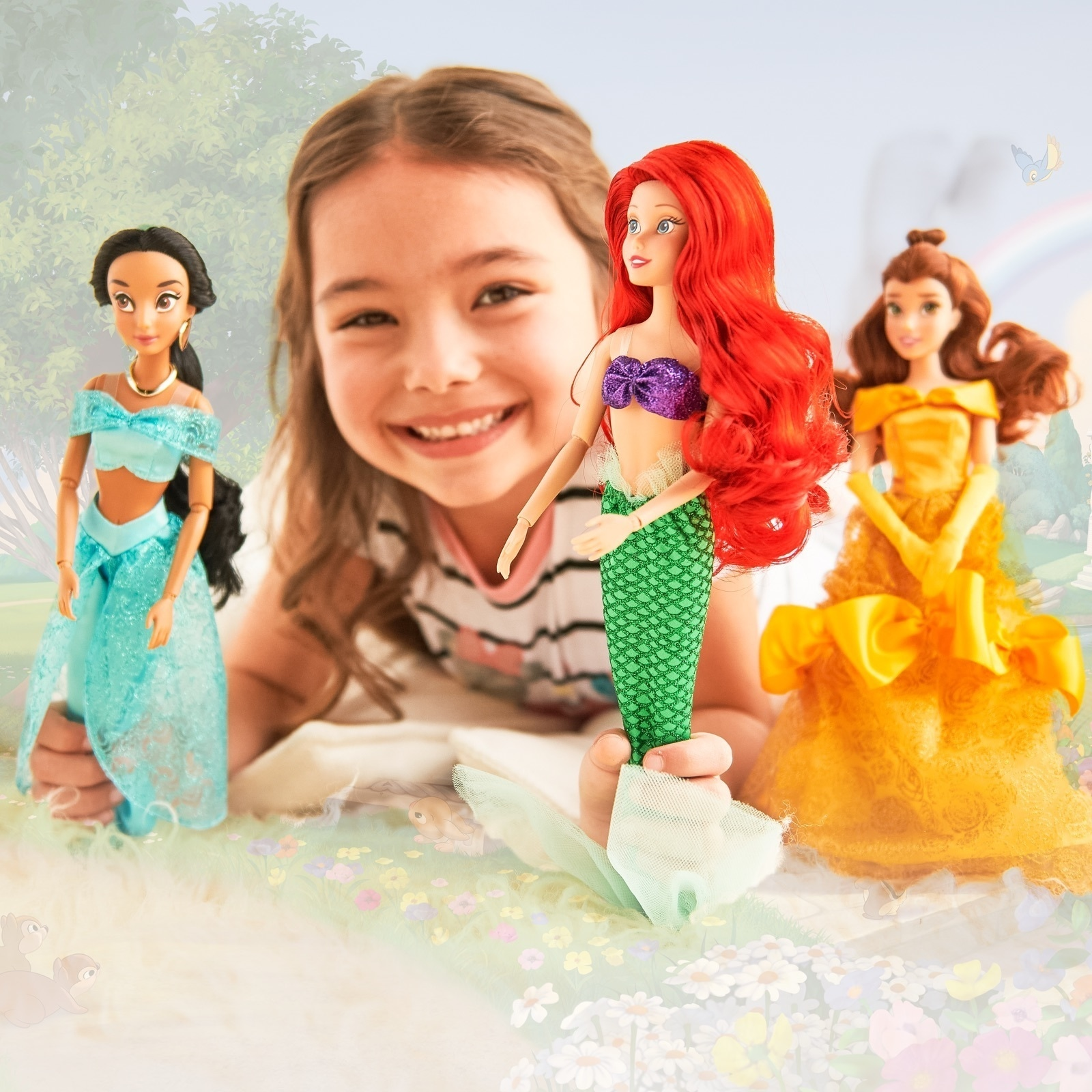 Belle, Ariel and Jasmine inspired dolls.