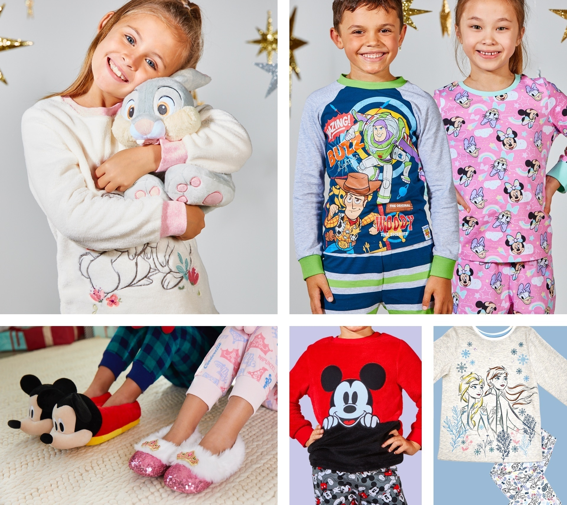 A selection of children wearing Disney pyjamas