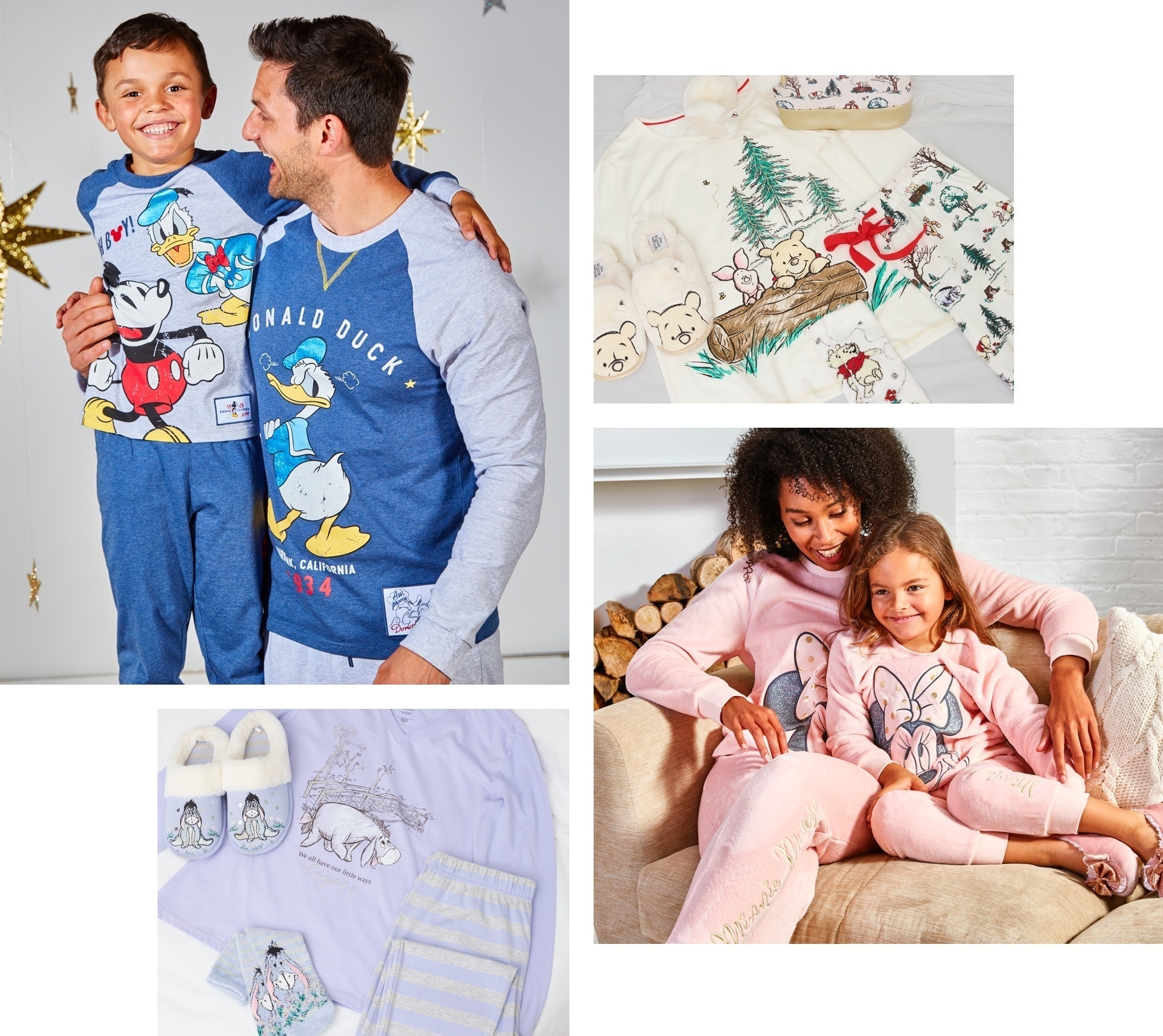 A selection of adults and kids wearing Disney pyjamas
