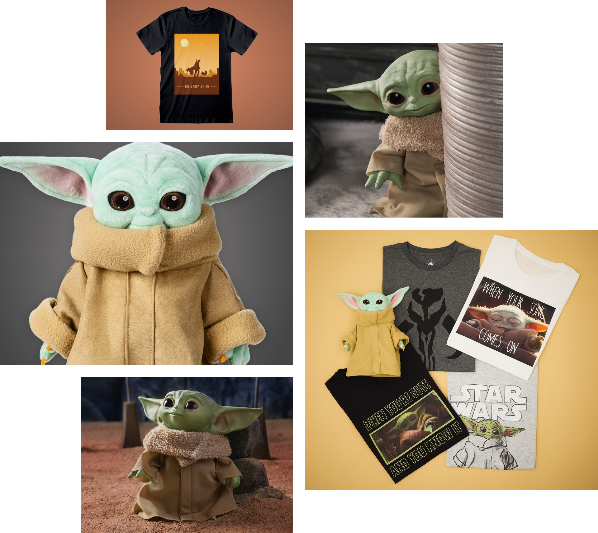 A selection of products of the Child, a character from Star Wars The Mandalorian.
