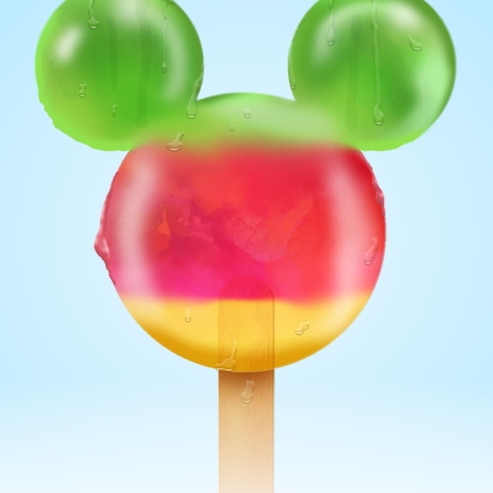 A Mickey Mouse shaped ice-lolly.