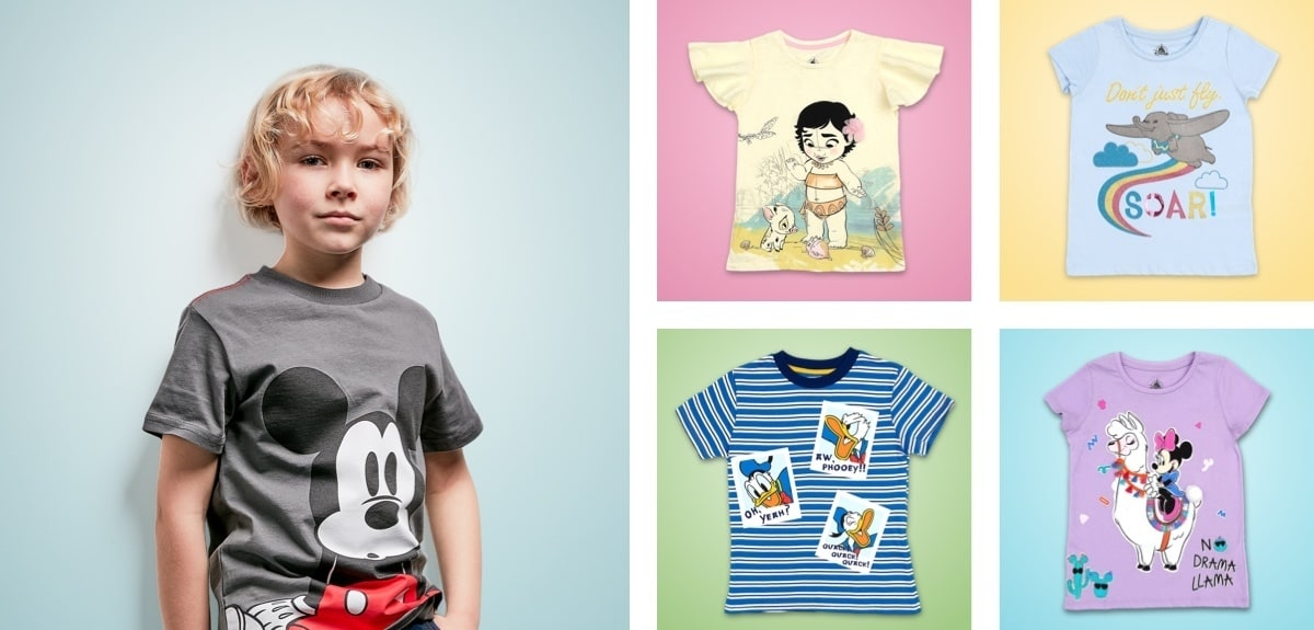 A selection of T-Shirts inspired by Mickey, Minnie, Donald, Dumbo and Moana