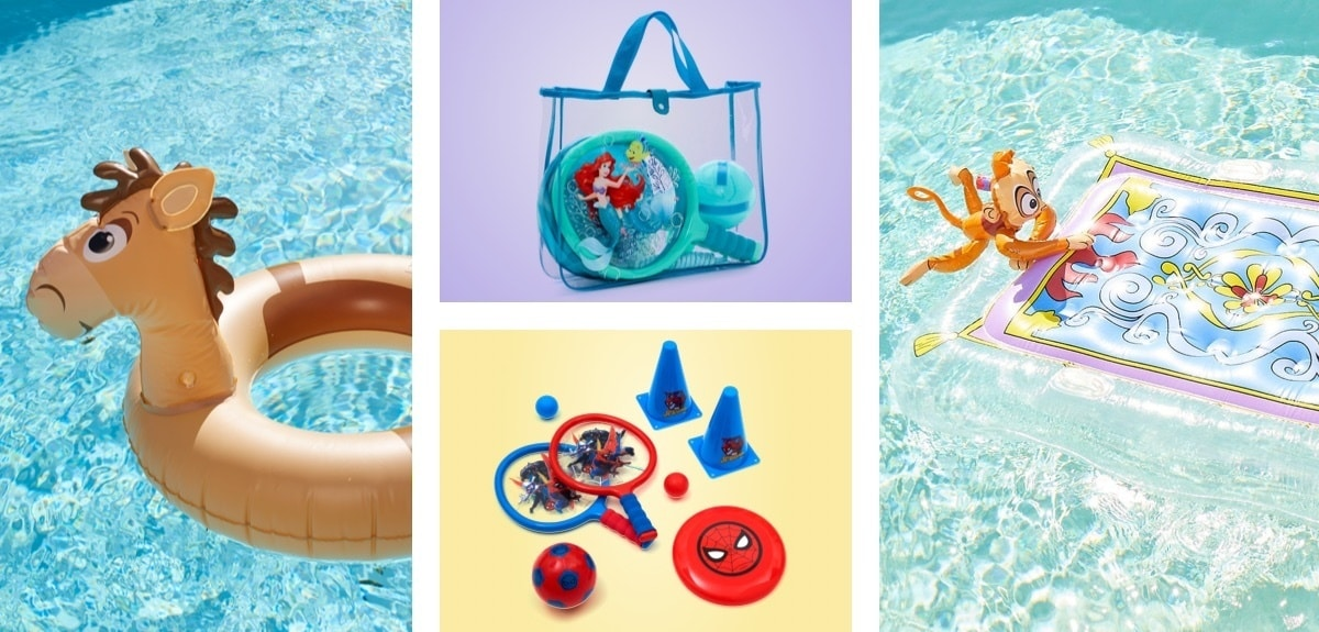 Bullseye inspired inflatable, Ariel and Spiderman inspired sports bags, Magic Carpet and Abu inspired inflatable