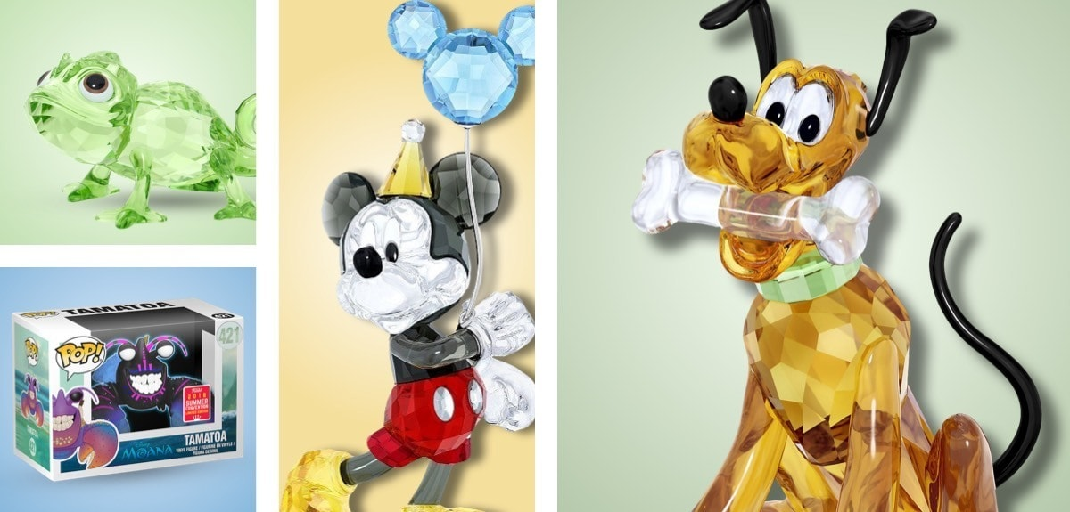 Swarovski Crystal Figurines of Mickey Mouse Celebration, Pluto and Pascal