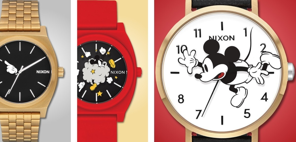 A variety of Nixon watches featuring Mickey Mouse