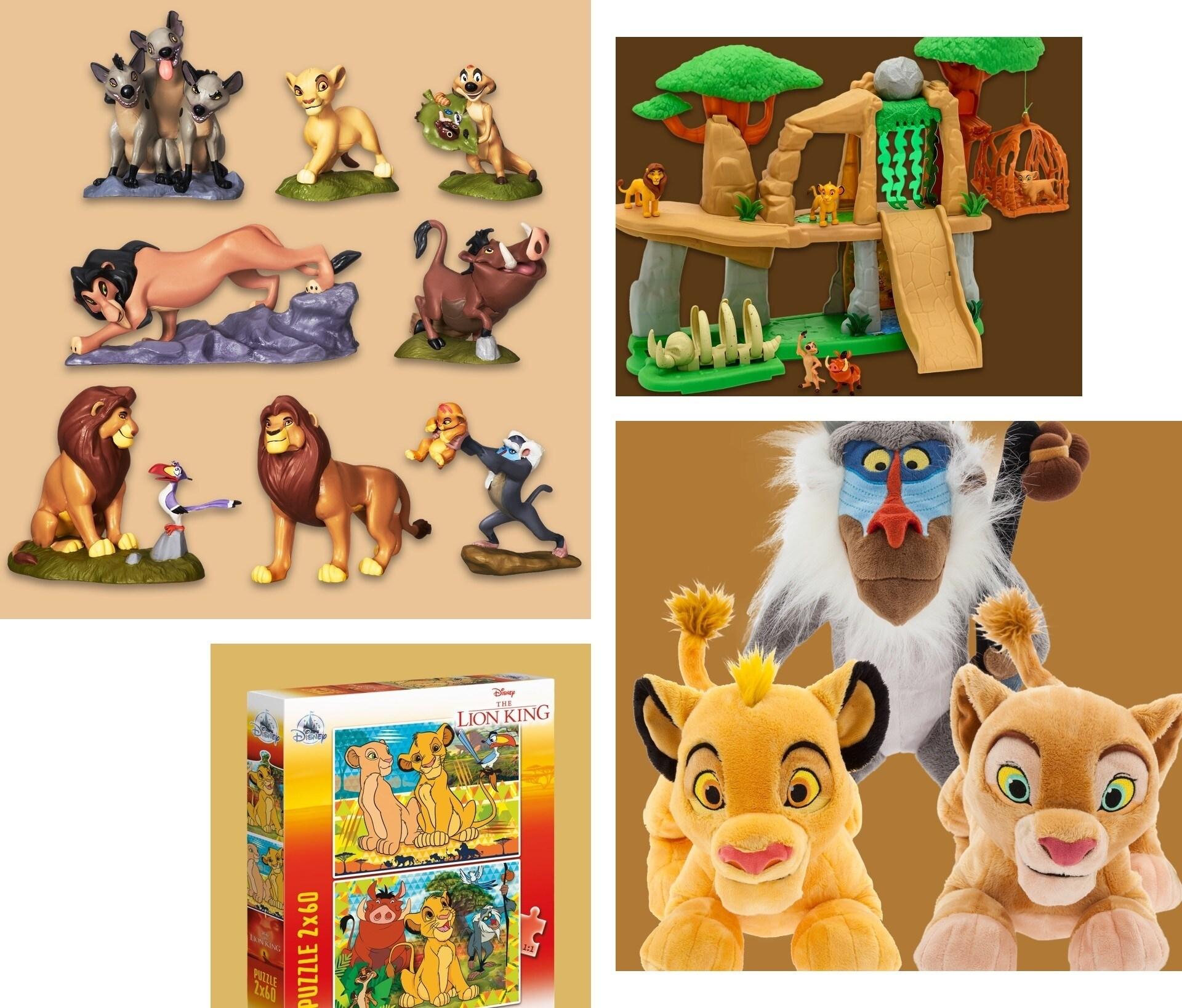 Uma seleção de brinquedos inspirados em O Rei Leão (The Lion King)