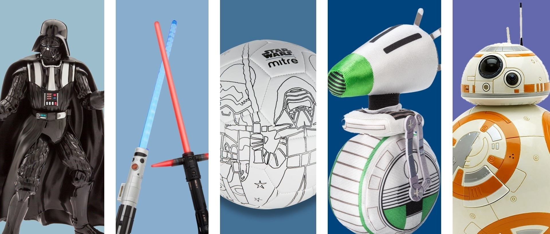 Una selezione di giocattoli a tema Star Wars