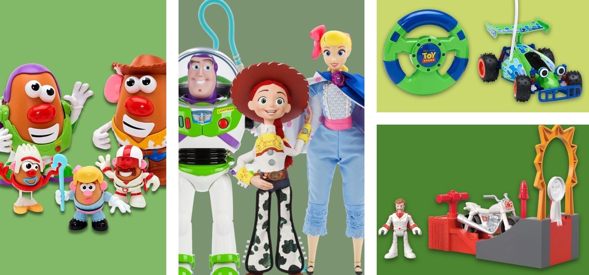 Una selezione di giocattoli a tema Toy Story