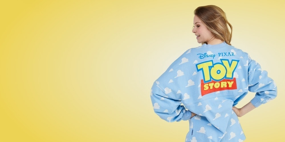 Woman wearing Toy Story spirit jersey from shopDisney