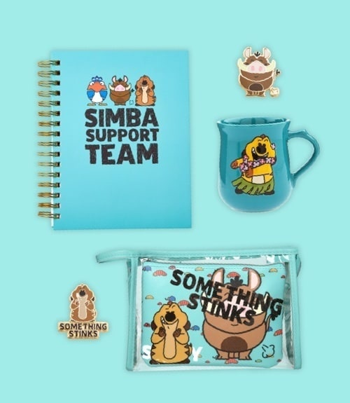 Timon and Pumbaa inspired mug, notebook, pin set and wash bags.