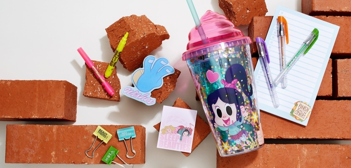 Ralph Breaks the Internet Vanellope tumbler and Disney Princesss Stationery Set