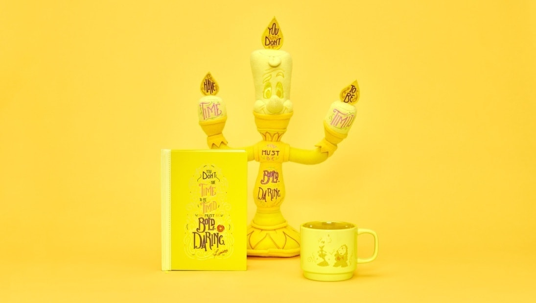 Lumiere Soft Toy, Lumiere Notebook, Lumiere Pin Set and Lumiere Mug