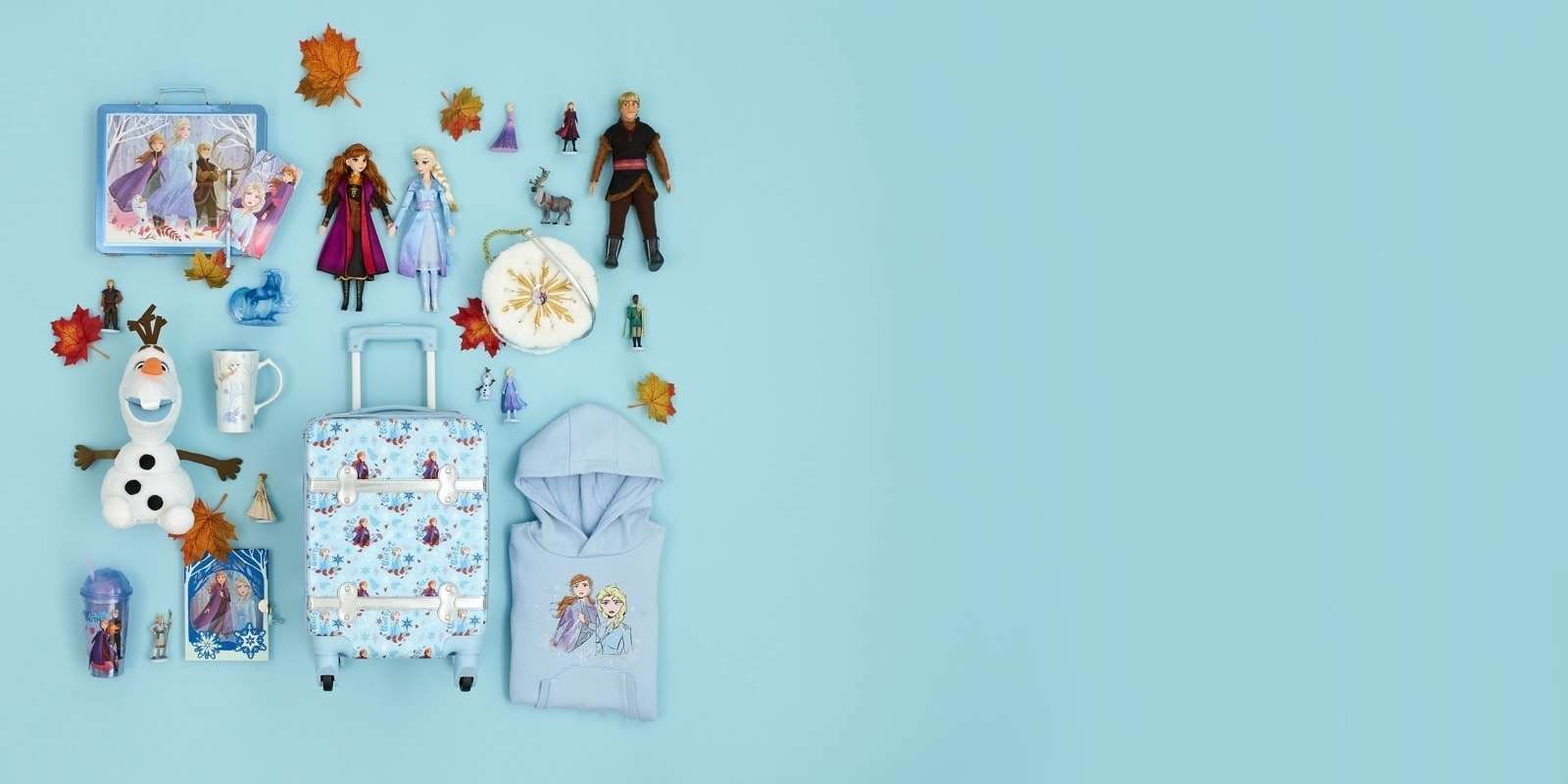 A selection of Frozen 2 figures including, Elsa, Anna, Sven and Olaf