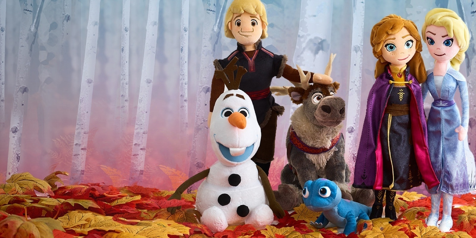 A selection of frozen 2 inspired plush including Elsa, Anna, Sven and Olaf