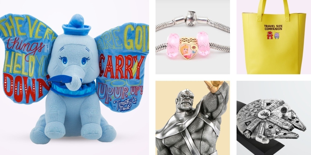 Mulan tote bag, Disney Princess charms, Thanos figurine and Millennium Falcon figurine