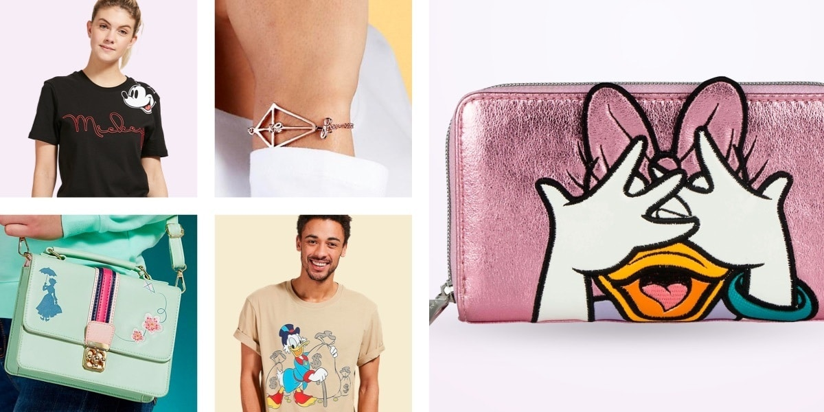 Danielle Nicole Daisy Duck Wallet, Mary Poppins Returns Kite Rose Gold-Plated Bracelet and Crossbody Bag, Scrooge McDuck t-shirt