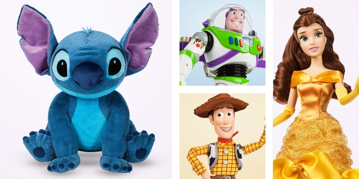 Stitch plush toy, Buzz and Woody talking action figures and a Princess Belle classic doll