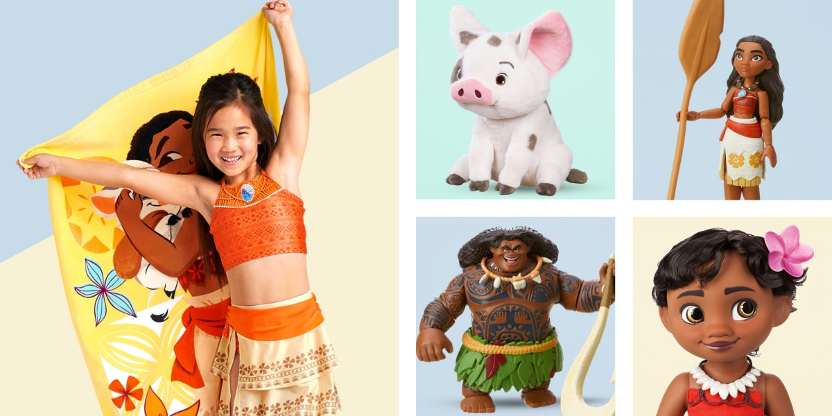 Girl wearing a Moana bikini and holding a Moana towel, Pua plush toy, Moana action doll, Maui action doll and Moana baby doll
