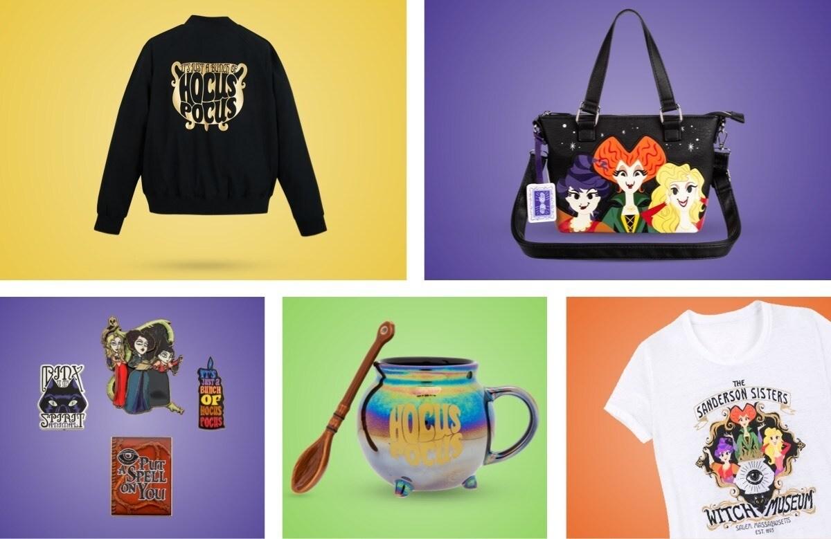 Una selezione di prodotti a tema Hocus Pocus disponibili su shopDisney