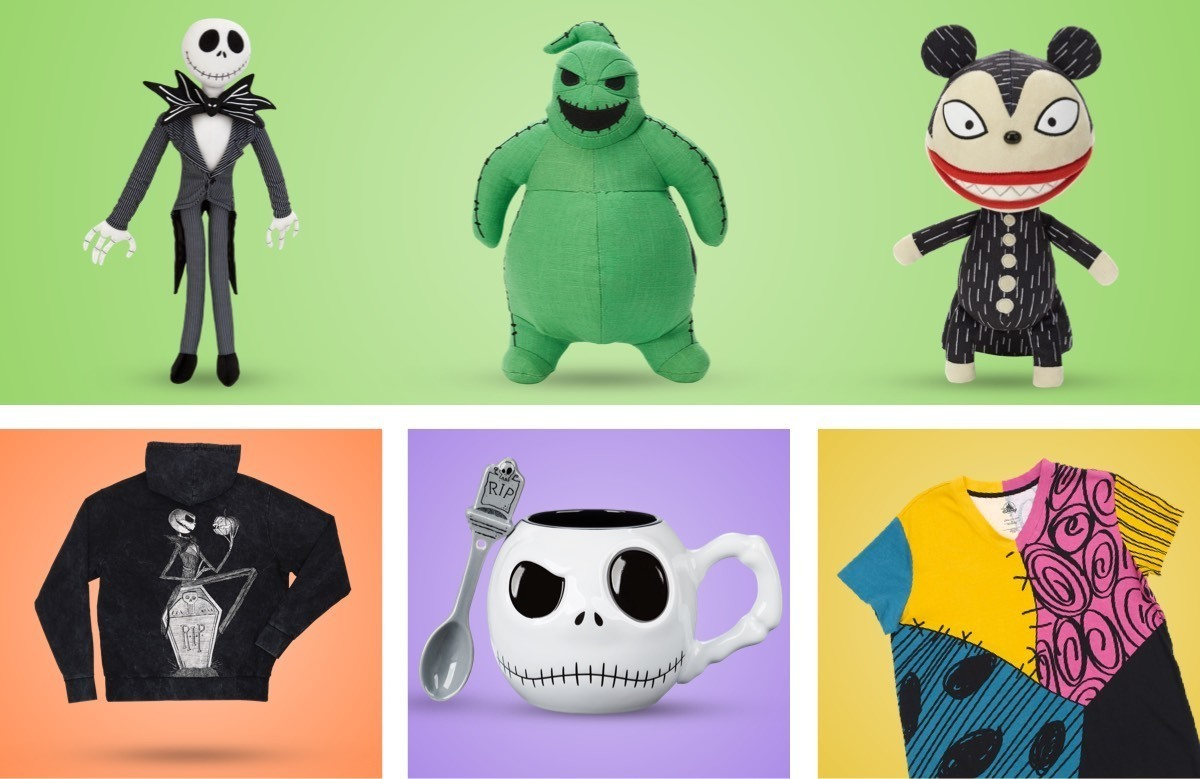 Una selezione di prodotti a tema Nightmare Before Christmas disponibili su shopDisney