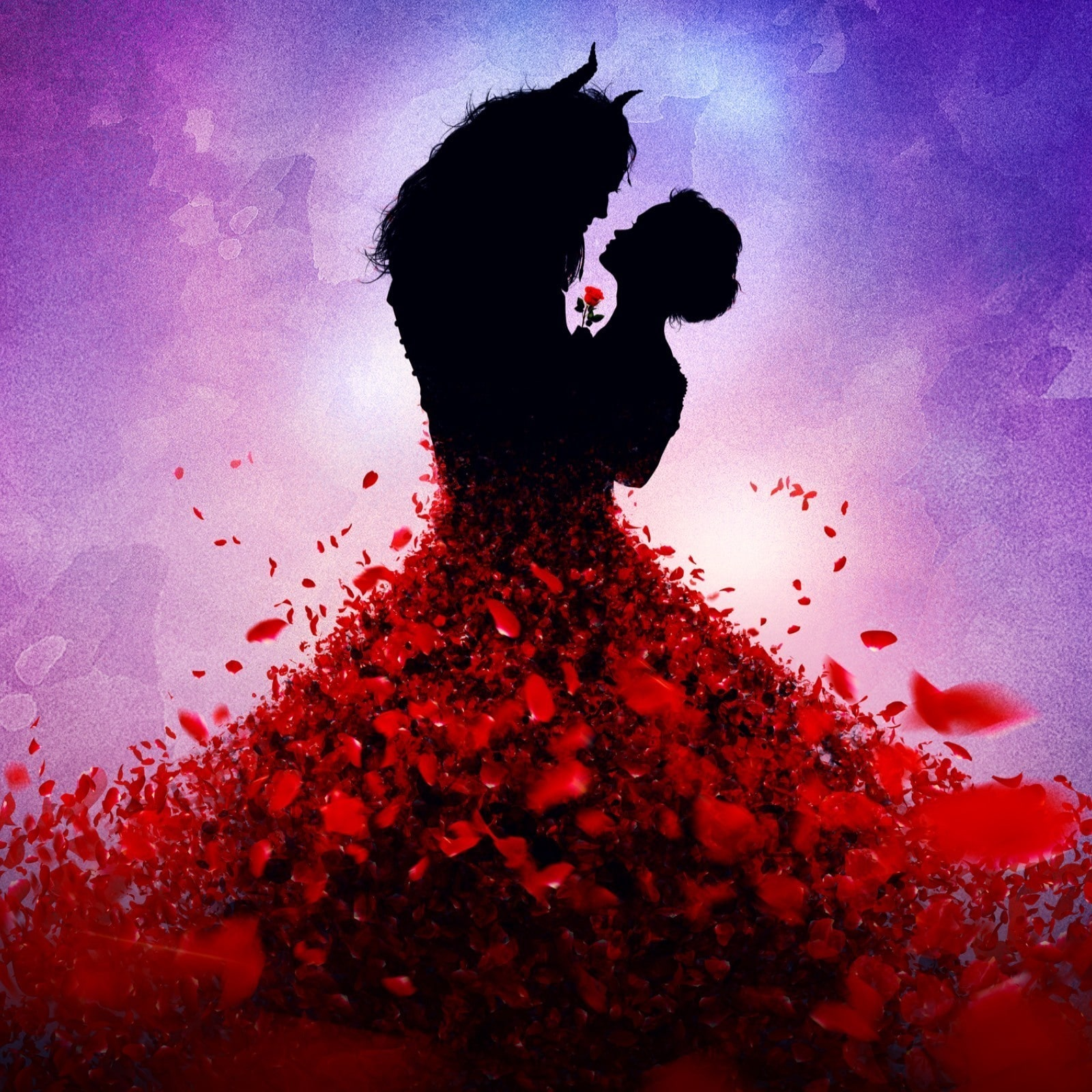 Belle and Beast silhouette with Belle's dress made of rose petals