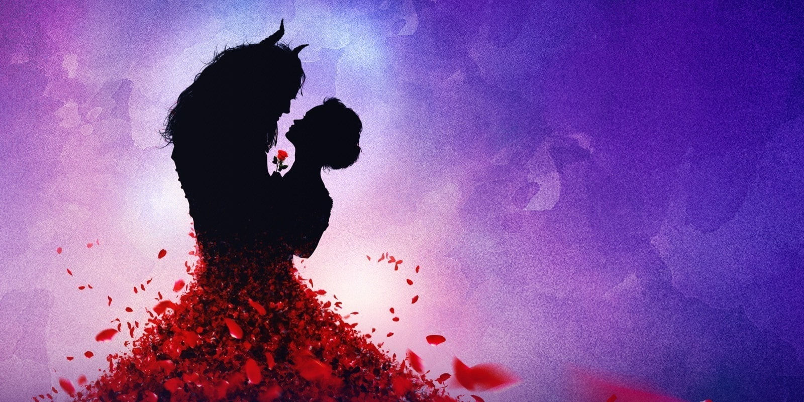 A silhouette of Belle and the Beast dancing, with red petals forming as Belle's dress skirt