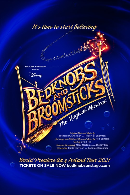 Bedknobs and Broomsticks poster with text in the shape of a golden bedframe, on a swirling blue background