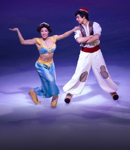 Aladdin and Jasmine skating on ice