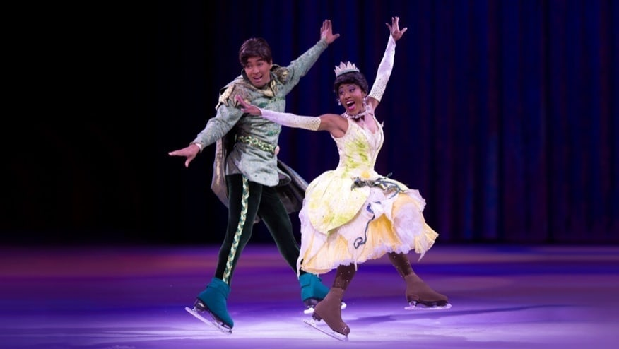Tiana and Prince Naveen jumping on ice