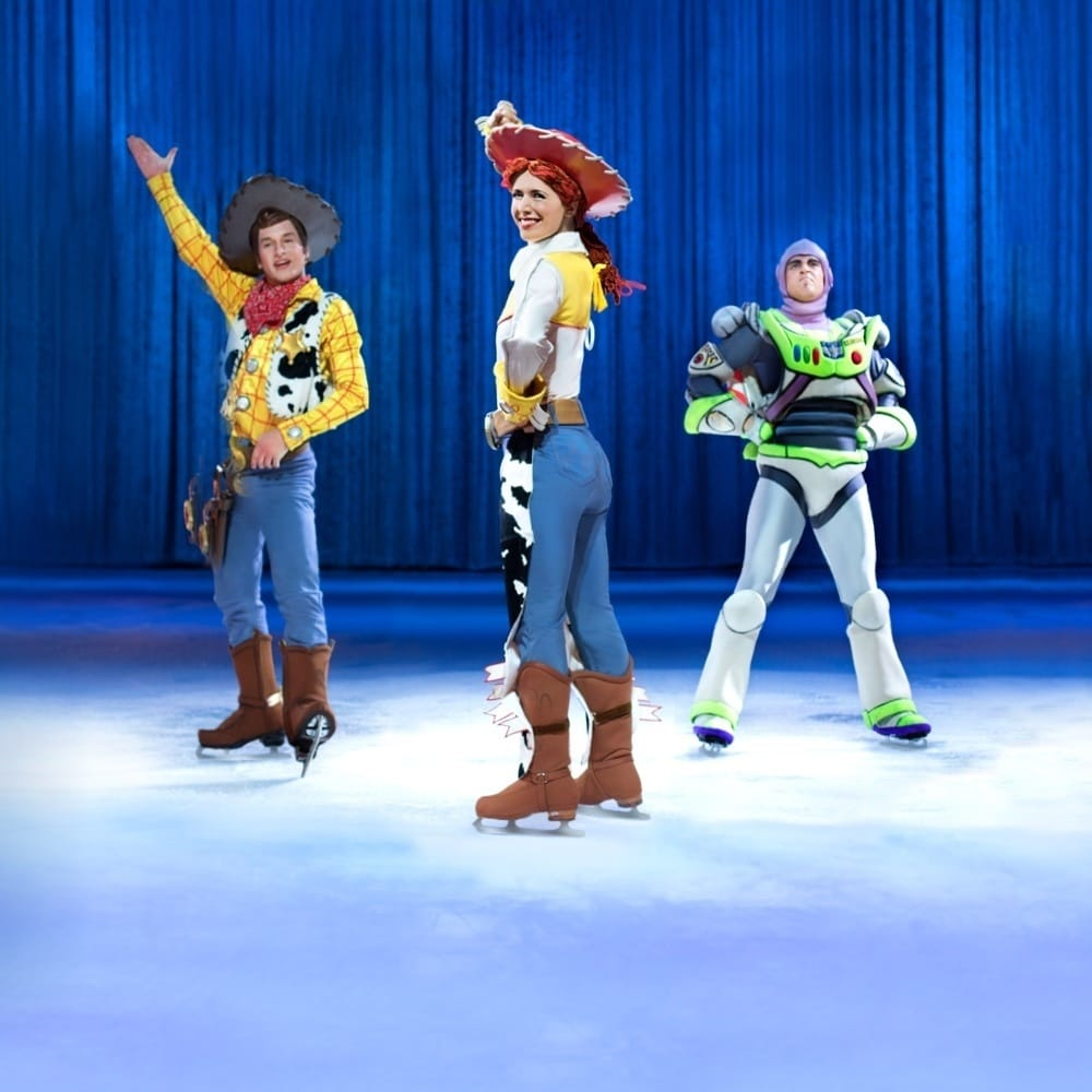 Woody, Jessie and Buzz Lightyear posing together on ice