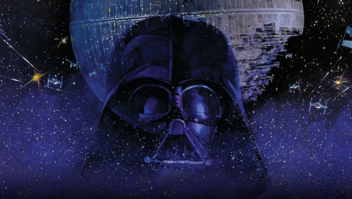 Darth Vader seen faded amongst the starry sky