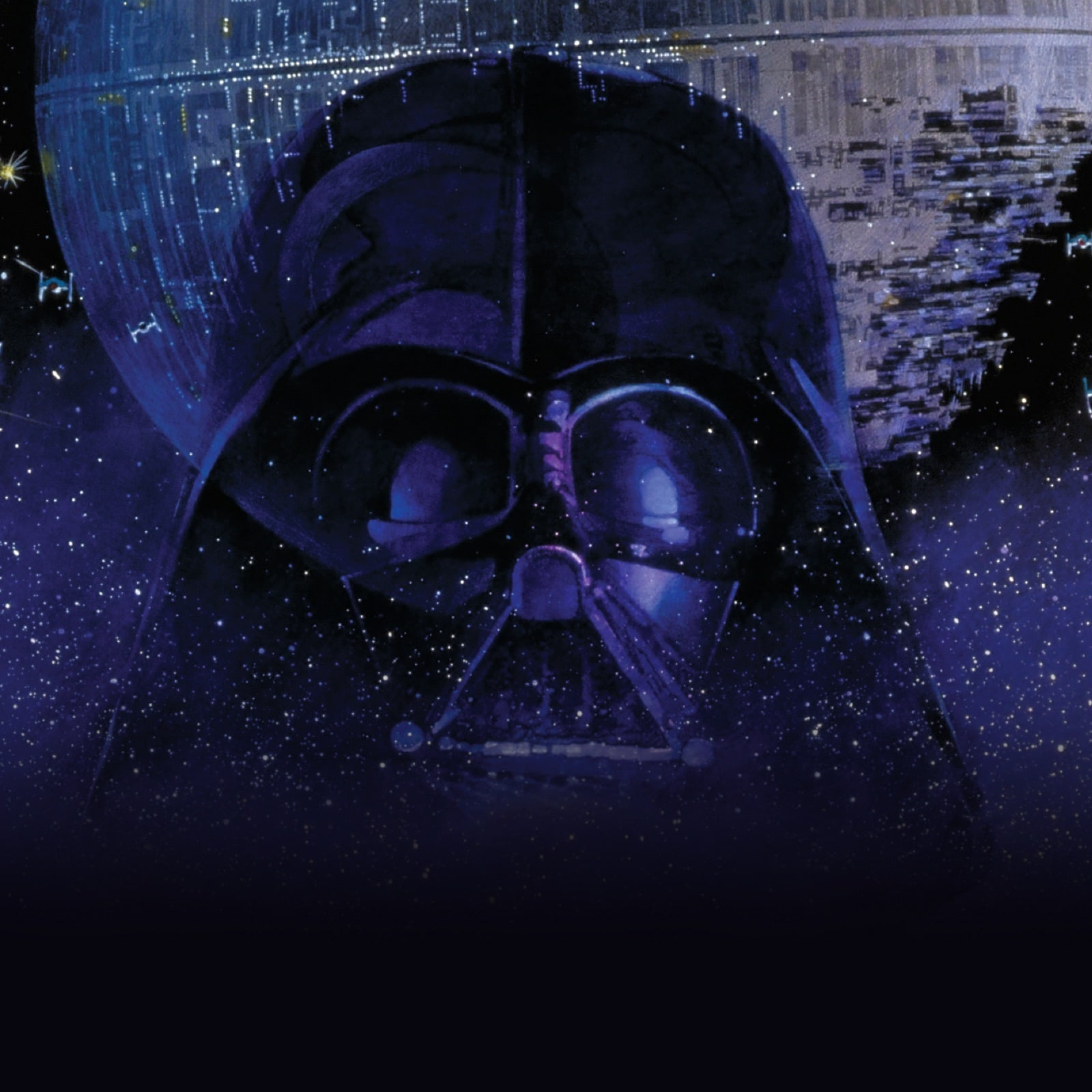 Image of Darth Vader's face with space behind him