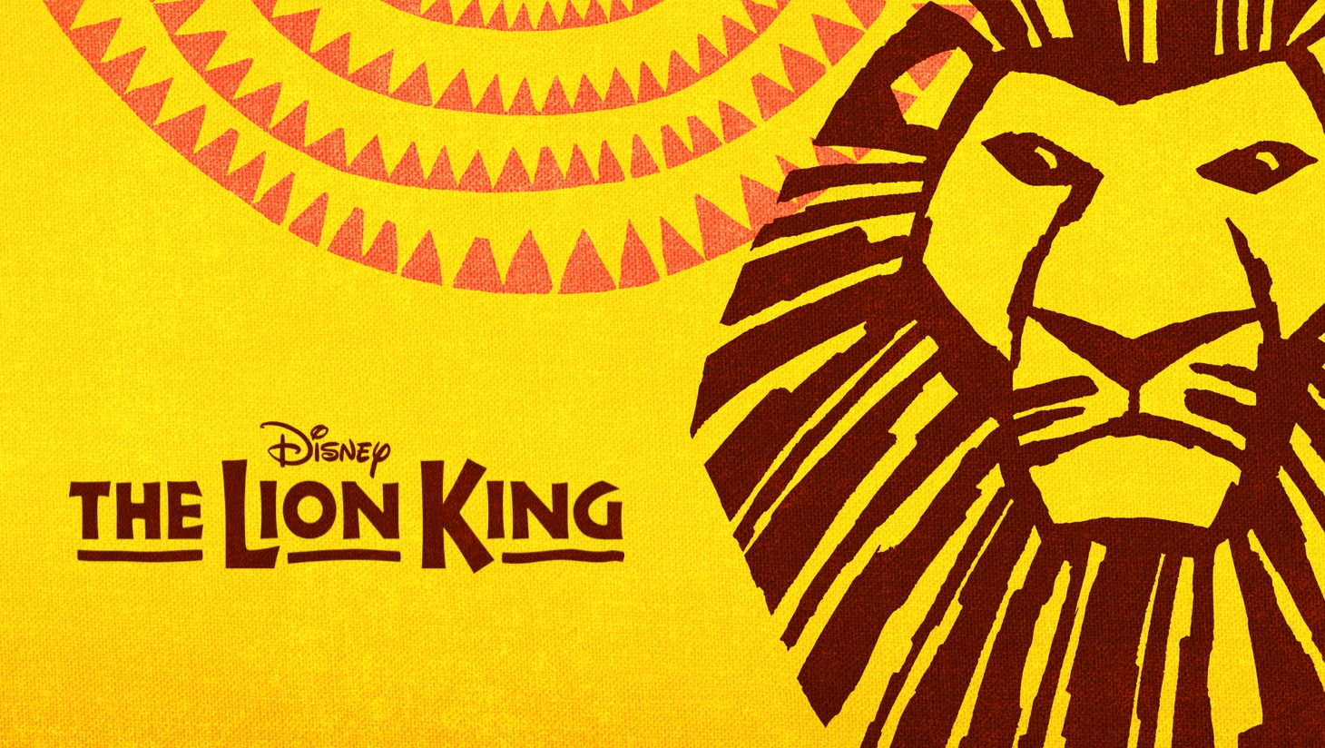 The Lion King artwork with a lion head on a decorative yellow background