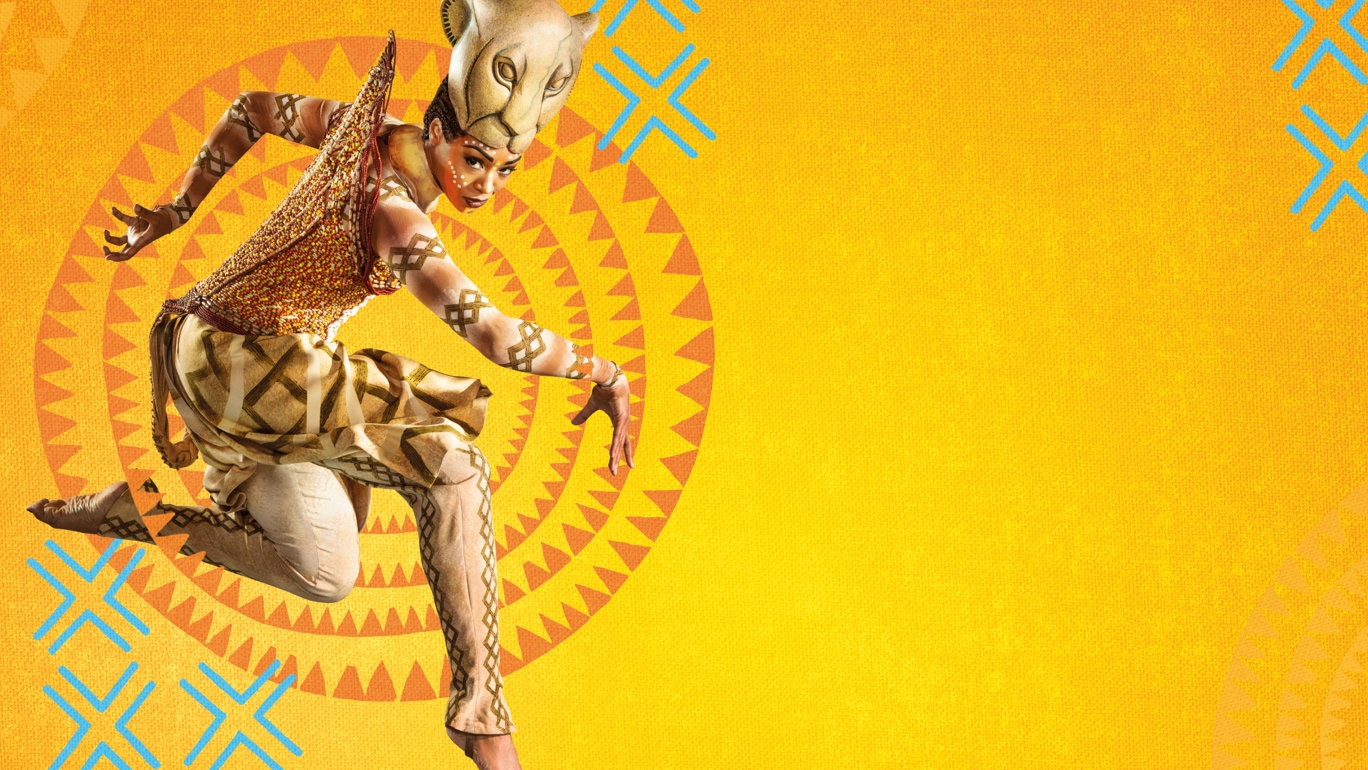 The Lion King Musical poster with Nala character jumping in the air on yellow and orange background with illustrated ornaments