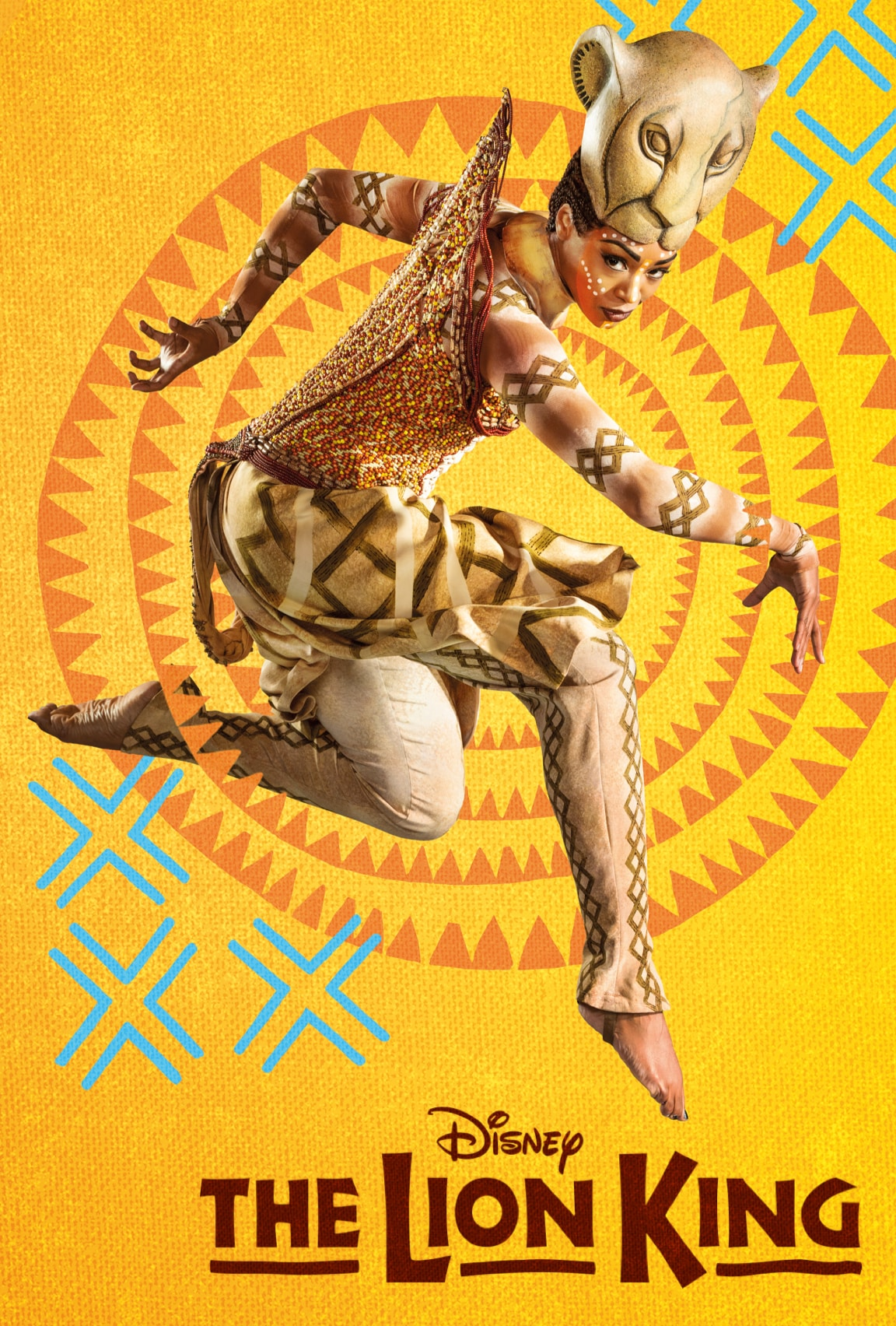 The Nala character jumping to the air as a lion surrounded by illustrated patterns on a yellow and orange background