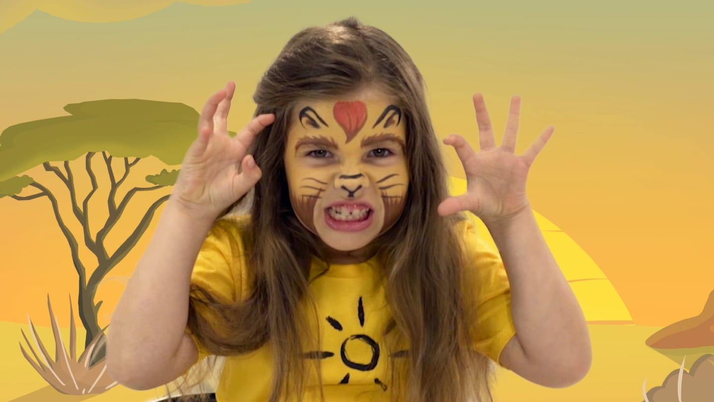 A girl with Kion themed face paint